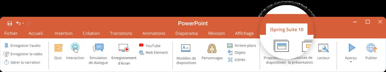 iSpring s'intègre simplement dans PowerPoint