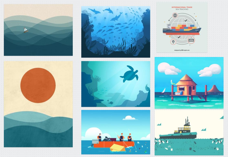 Moodboard pour un motion design sur la pollution des océans